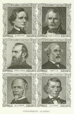 Confederate Leaders Art Print by American School