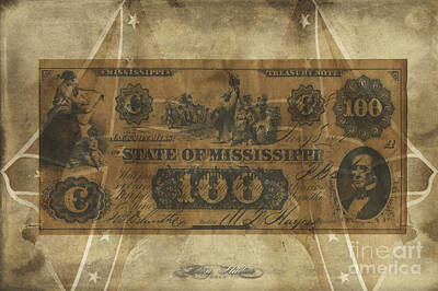 Digital Art - Confederate Mississippi $100 Note by Melissa Messick