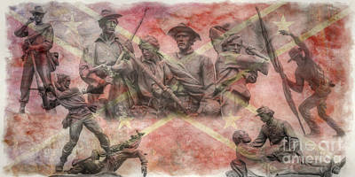 Digital Art - Confederate Monuments On The Gettysburg Battlefield by Randy Steele