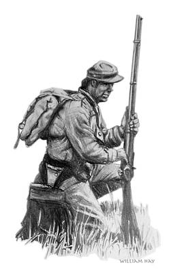 Infantryman Drawing - Confederate Soldier by William Hay