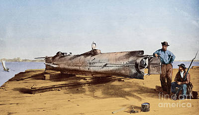 Civil Painting - Confederate Submarine, Hunley by Conrad Wide Chapman