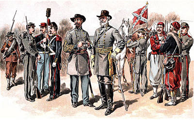 Photograph - Confederate Uniforms 1888 Drawing by Phil Cardamone