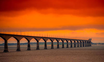 Photograph - Confederation Bridge At Sunset by Patrick Boening