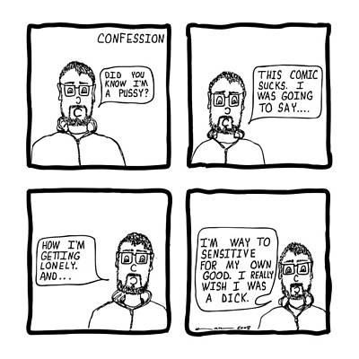 Confession Comic Art Print by Karl Addison