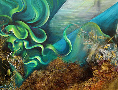 Art Print featuring the painting Confessions Of A Mermaid by Dina Dargo