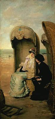 Nothing Painting - Confidences On The Beach by Vincente Gonzalez Palmaroli