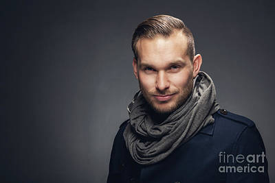 Head Photograph - Confident Charming Young Man. by Michal Bednarek
