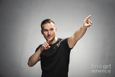 Adult Photograph - Confident Man In Winning Gesture. by Michal Bednarek