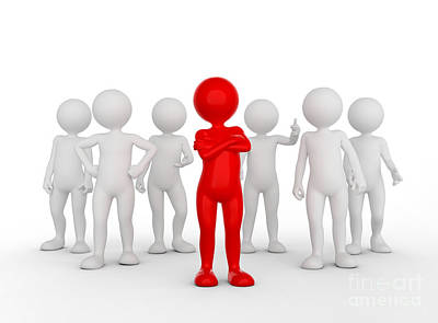 Worker Photograph - Confident Team Leader Concept. Toon Man With His Army Of People. by Michal Bednarek