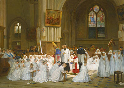 Villiers-le-bel Painting - Confirmation In Villiers-le-bel by Theophile Duverger