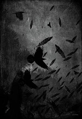 Mixed Media - Conflict Of The Crows Bw by Lesa Fine