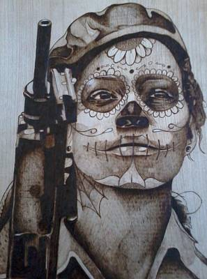 Pyrography On Wood Pyrography - Conflicted by Marlon Ivory