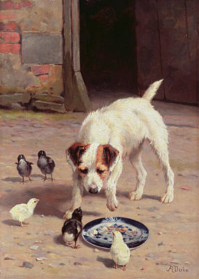 Puppies Painting - Confrontation by Alfred Duke