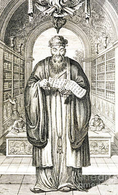 Wise Men Drawing - Confucius In A Library by Honbleau