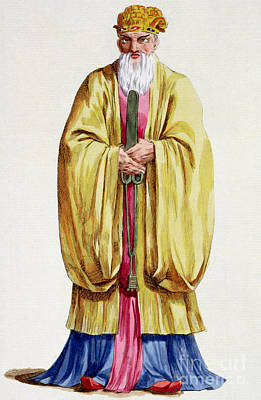 Old Chinese Man Painting - Confucius by Pierre Duflos