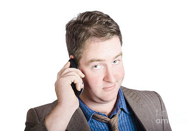 Photograph - Confused Business Person On Cell Phone. Close Call by Jorgo Photography - Wall Art Gallery