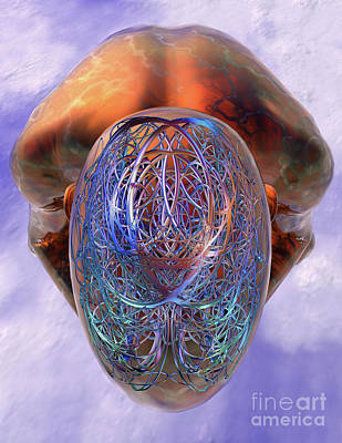 Digital Art - Confusion Or Enlightenment - Crouching Man  by Nicholas Burningham