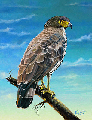 Yellow Painting - Congo Serpent Eagle by Anthony Mwangi