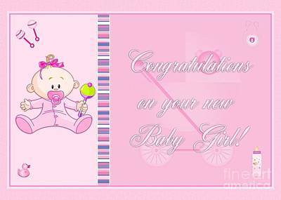 Digital Art - Congrats Baby Girl Pink by JH Designs