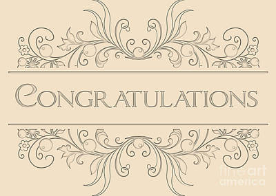 Digital Art - Congratulations Engraved Deco by JH Designs