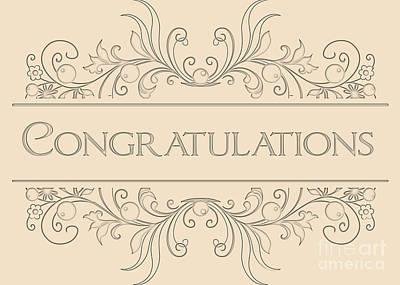 Digital Art - Congratulations Engraved Deco by JH Designs