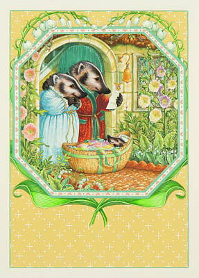 Lily Of The Valley Painting - Congratulations To The Badger Family by Lynn Bywaters