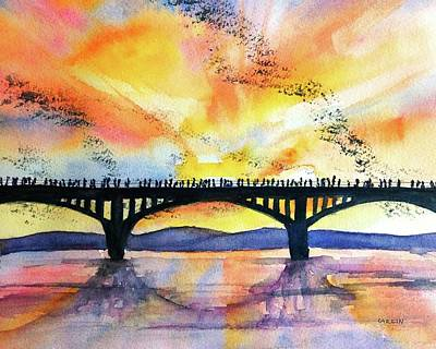 Painting - Congress Bridge Bats Austin Texas by Carlin Blahnik CarlinArtWatercolor