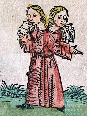 Conjoined Twins, Nuremberg Chronicle Art Print by Science Source