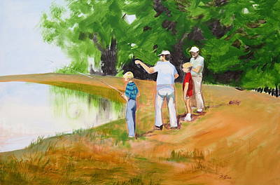 Fishing Lessons Painting - Conjuring by Bonnie See