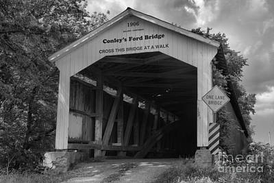 Photograph - Conley's Ford Covered Bridge Black And White by Adam Jewell