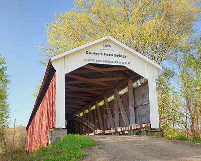 Photograph - Conley's Ford Covered Bridge by Harold Rau