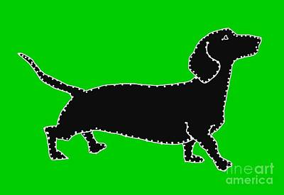 Dachshund Art Drawing - Connect The Doxie Dots by I Am Lalanny