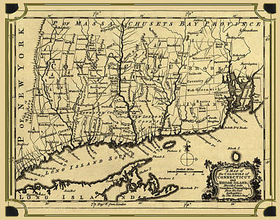 Digital Art - Connecticut And Rhode Island Map by Carlos Diaz