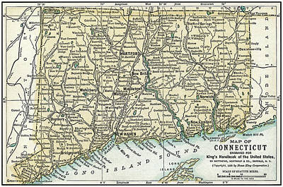 Photograph - Connecticut Antique Map 1891 by Phil Cardamone