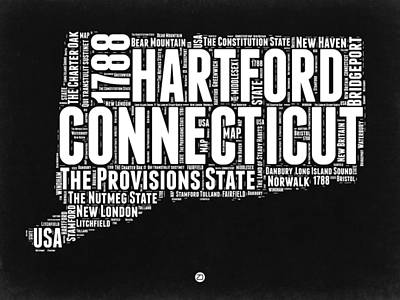 Connecticut Digital Art - Connecticut Black And White Word Cloud Map by Naxart Studio