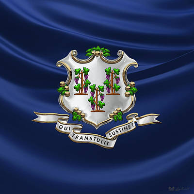 Digital Art - Connecticut Coat Of Arms Over Flag by Serge Averbukh