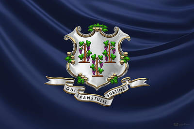 Digital Art - Connecticut Coat Of Arms Over State Flag by Serge Averbukh