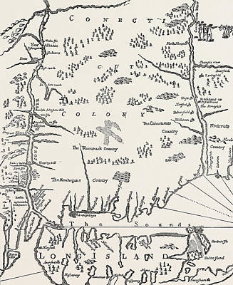 New England Drawing - Connecticut From A Map Of New England by American School