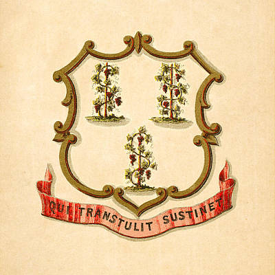 1876 Digital Art - Connecticut Historical Coat Of Arms Circa 1876 by Serge Averbukh