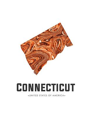 Mixed Media Royalty Free Images - Connecticut Map Art Abstract in Brown Royalty-Free Image by Studio Grafiikka
