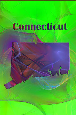 State Map Digital Art - Connecticut Map by Roger Wedegis