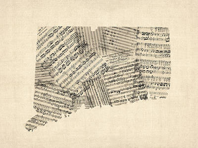 Connecticut Sheet Music Map Art Print by Michael Tompsett