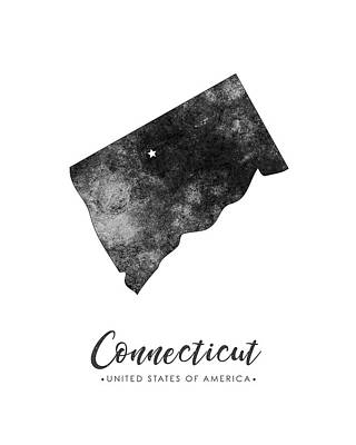 Geography Mixed Media - Connecticut State Map Art - Grunge Silhouette by Studio Grafiikka