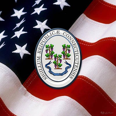 Digital Art - Connecticut State Seal Over U.s. Flag by Serge Averbukh