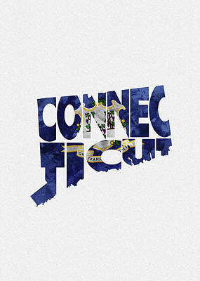 Digital Art - Connecticut Typographic Map Flag by Inspirowl Design