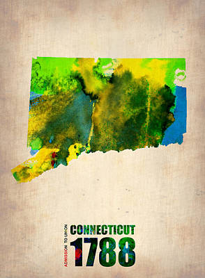 Connecticut Watercolor Map Art Print