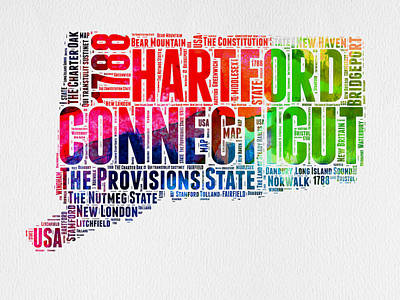 Connecticut Digital Art - Connecticut Watercolor Word Cloud Map by Naxart Studio