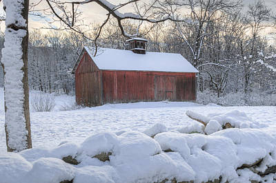 Red Barn In Winter Photograph - Connecticut Winter Barns by Bill Wakeley