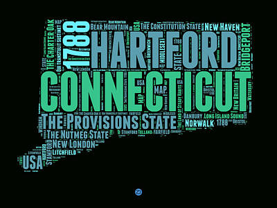 Connecticut Word Cloud Map 1 Art Print by Naxart Studio