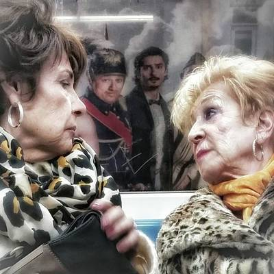 Connection #women #underground #metro Art Print by Rafa Rivas